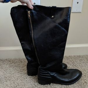 Steve Madden | Black Leather mid calf zip up boots